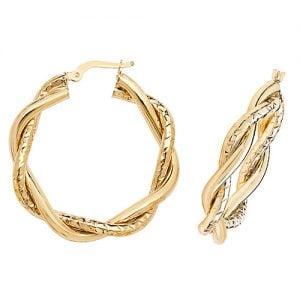 Gold earrings hoops,hoops,earrings,golds,guld,18k,9k,18ct,9ct,375,750,gold earrings hoops,top jewellery,goldonline,top jewellery uk,birmingham,Rose gold,white gold,rose,white,tiwsted,double twist