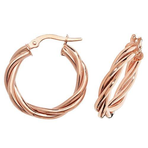 Twisted Plain Rose Gold Hoop Earrings,Yellow Gold Hoop Earrings 20 mm,30mm ,9ct,18ct,14ct,topjewellery,top,jewellery,topjewelleryukBirmingham,Jewellery Quarter.1