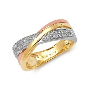 9ct 0.14ct Tri Color Cross Over Diamond Yellow Rose and white Gold Ring,yellow gold,white gold,rose gold,Diamond Cross Over,Cross Over,Gold,Diamond,18ct,9ct,14ct,topjewellery,topjewelleryuk,birmingham