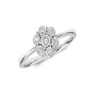9ct 0,05 Flower Cluster Diamond Flower Cluster White Gold Ring,White gold,Diamond Cluster,Gold,Diamond,18ct,9ct,14ct,topjewellery,topjewelleryuk,birmingham
