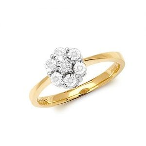 9ct 0,05 Flower Cluster Diamond Flower Cluster Yellow Gold Ring,yellow gold,Diamond Cluster,Gold,Diamond,18ct,9ct,14ct,topjewellery,topjewelleryuk,birmingham
