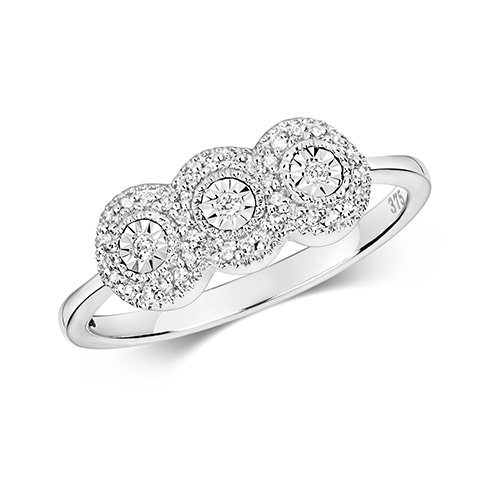 9ct 0,06ct 3 Circle Chya Illusion Diamond Bow White Gold Ring,white gold,Diamond Cluster,Gold,Diamond,18ct,9ct,14ct,topjewellery,topjewelleryuk,birmingham