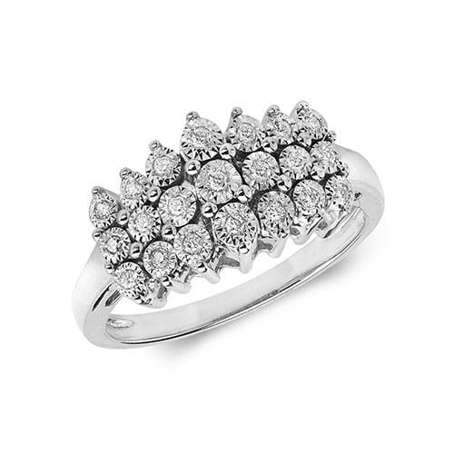 9ct 0,11ct 3 Row Illusion Diamond Bow White Gold Ring,white gold,Diamond Cluster,Gold,Diamond,18ct,9ct,14ct,topjewellery,topjewelleryuk,birmingham