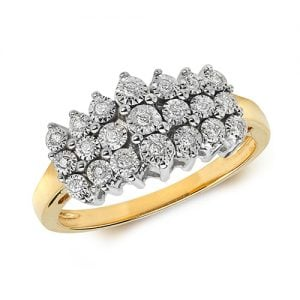 9ct 0,11ct 3 Row Illusion Diamond Bow Yellow Gold Ring,yellow gold,Diamond Cluster,Gold,Diamond,18ct,9ct,14ct,topjewellery,topjewelleryuk,birmingham