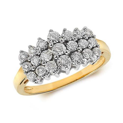 9ct 0,11ct 3 Row Illusion Diamond Bow Yellow Gold Ring,yellow gold,Diamond Cluster,Gold,Diamond,18ct,9ct,14ct,topjewellery,topjewelleryuk,birmingham