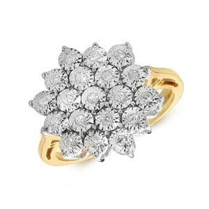 9ct 0,20ct Star Illusion Diamond Bow Yellow Gold Ring,yellow gold,Diamond Cluster,Gold,Diamond,18ct,9ct,14ct,topjewellery,topjewelleryuk,birmingham