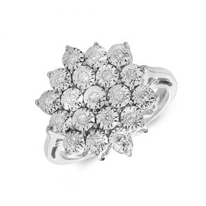 9ct 0,11ct Star Illusion Diamond White Gold Ring,white gold,Diamond Cluster,Gold,Diamond,18ct,9ct,14ct,topjewellery,topjewelleryuk,birmingham
