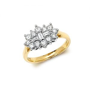 9ct 1,00 Cluster Diamond Bow Yellow Gold Ring,yellow gold,Diamond Cluster,Gold,Diamond,18ct,9ct,14ct,topjewellery,topjewelleryuk,birmingham
