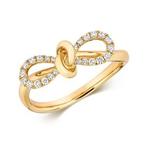 9ct Bow Diamond Bow Yellow Gold Ring,yellow gold,Diamond Bow,Bow,Gold,Diamond,18ct,9ct,14ct,topjewellery,topjewelleryuk,birmingham