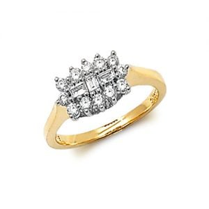 9ct Cluster Diamond Bow Yellow Gold Ring,yellow gold,Diamond Cluster,Gold,Diamond,18ct,9ct,14ct,topjewellery,topjewelleryuk,birmingham