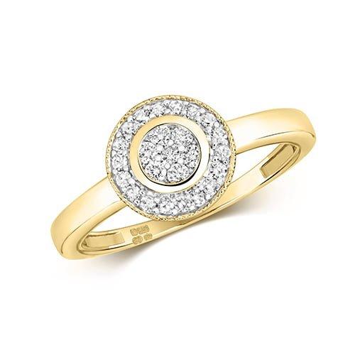 9ct Cluster Diamond Halo Yellow Gold Ring,yellow gold,Diamond Halo,Halo,Gold,Diamond,18ct,9ct,14ct,topjewellery,topjewelleryuk,birmingham