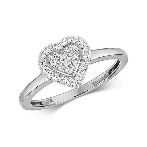 9ct Cluster Diamond Heart White Gold Ring,yellow gold,Diamond Heart,Heart,Gold,Diamond,18ct,9ct,14ct,topjewellery,topjewelleryuk,birmingham