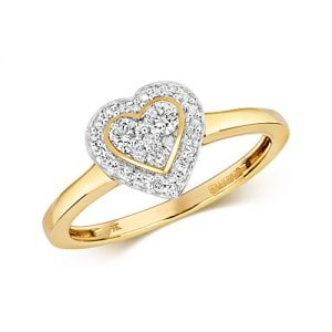 9ct Cluster Diamond Heart Yellow Gold Ring,yellow gold,Diamond Heart,Heart,Gold,Diamond,18ct,9ct,14ct,topjewellery,topjewelleryuk,birmingham