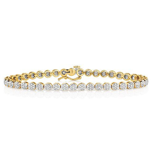 Cluster Bracelet 1.00,Yellow Cluster tennis Bracelet,Yellow gold Diamonds Bracelet,Gold,yellow gold hingde diamond bangle,9k,18k,14k,585,750,375,9ct,14ct,18ct,topjewellery,topjewelleryuk,goldonline.com,goldonli