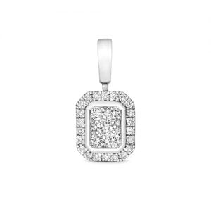 Emerald shape 9ct diamond pendant,Diamond Pendant,9ct,14ct,375,750,585,Bezel set pendant,topjewelleryuk,birmingham