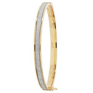 Kids,yellow gold hingde crushed cz bangle,9k,18k,14k,585,750,375,9ct,14ct,18ct,topjewellery,topjewelleryuk,goldonline.com,gold,goldonline,bangle,secure box clasp