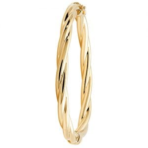 Large Hinged Patterned Twisted Bangle,Bangle bracelet,9k,14k,18k,750,585,375,gold,guld,topjwelleryuk,top jewellery,birmingham,uk