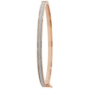 Rose gold hingde crushed cz bangle,9k,18k,14k,585,750,375,9ct,14ct,18ct,topjewellery,topjewelleryuk,goldonline.com,gold,goldonline,bangle,secure box clasp