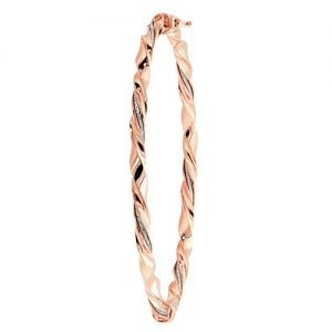 Stone cz Hinged,Rose GOld, Patterned Twisted Bangle,Bangle bracelet,9k,14k,18k,750,585,375,gold,guld,topjwelleryuk,top jewellery,birmingham,uk