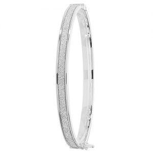 White gold hingde crushed cz bangle,9k,18k,14k,585,750,375,9ct,14ct,18ct,topjewellery,topjewelleryuk,goldonline.com,gold,goldonline,bangle,secure box clasp