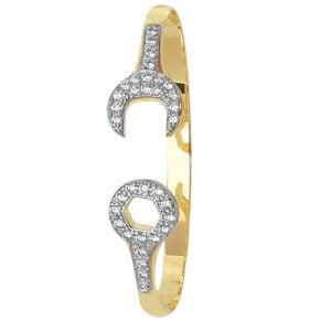 Spanner 5 mm Cz Hinged Twisted Bangle,Bangle bracelet,9k,14k,18k,750,585,375,gold,guld,topjwelleryuk,top jewellery,birmingham,uk