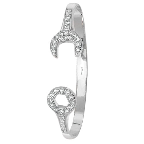 Spanner 5 mm Cz Hinged Twisted Bangle,Bangle bracelet,9k,14k,18k,750,585,375,gold,guld,topjwelleryuk,top jewellery,birmingham,uk,white gold