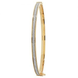 yellow gold hingde crushed cz bangle,9k,18k,14k,585,750,375,9ct,14ct,18ct,topjewellery,topjewelleryuk,goldonline.com,gold,goldonline,bangle,secure box clasp