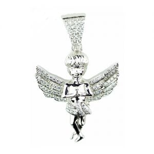 Angel silver pendant,silver pendant,topjewelleryuk,top jewellery,silver,925,iced out