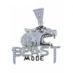 Beast mode silver pendant,silver pendant,topjewelleryuk,top jewellery,silver,925,iced out