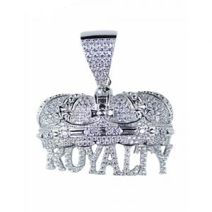 Crown Royalty silver pendant,silver pendant,topjewelleryuk,top jewellery,silver,925,iced out