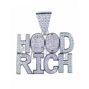 Hood Rich silver pendant,silver pendant,topjewelleryuk,top jewellery,silver,925,iced out
