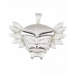 Human Mask Pendant,silver pendant,silver arsenal pendant,925,colored stones, plug 925 silver,black and white