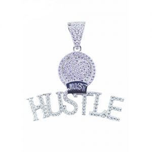 Just Hustle silver pendant,silver pendant,topjewelleryuk,top jewellery,silver,925,iced out
