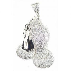 Large Preyer Hands Pendant,preyer hands silver pendant,silver arsenal pendant,925,colored stones, plug 925 silver,black and white