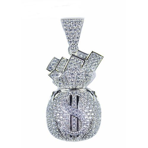 Money bag silver pendant,silver pendant,topjewelleryuk,top jewellery,silver,925,iced out