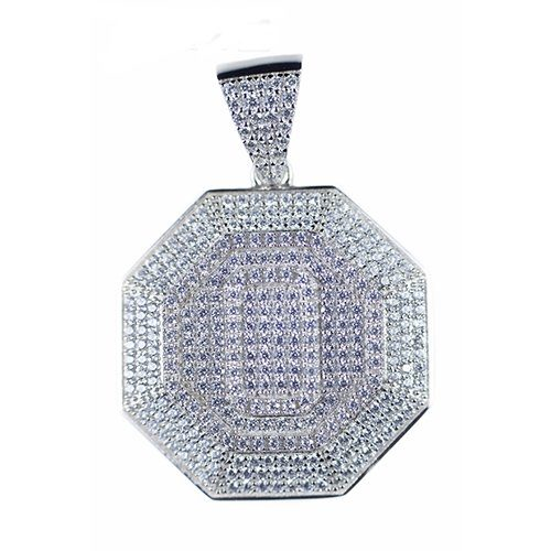 Octagon solid silver pendant,silver pendant,topjewelleryuk,top jewellery,silver,925,iced out