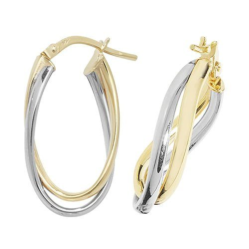 Oval Two Color,White & Yellow Gold Hoop Earrings,white Gold Hoop Earrings 20 mm,30mm ,9ct,18ct,14ct,topjewellery,top,jewellery,topjewelleryukBirmingham,Jewellery Quarter.1