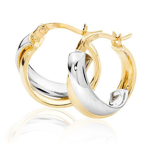 Round Two Color,White & Yellow Gold Hoop Earrings,white Gold Hoop Earrings 20 mm,30mm ,9ct,18ct,14ct,topjewellery,top,jewellery,topjewelleryukBirmingham,Jewellery Quarter.1