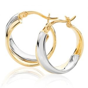 Round Two Color,White & Yellow Gold Hoop Earrings,white Gold Hoop Earrings 20 mm,30mm ,9ct,18ct,14ct,topjewellery,top,jewellery,topjewelleryukBirmingham,Jewellery Quarter.2