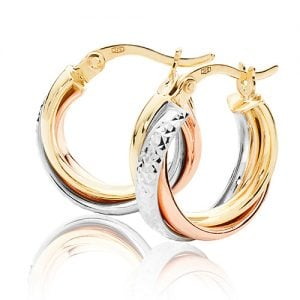 Tri Color Rose,White & Yellow Gold Hoop Earrings,white Gold Hoop Earrings 20 mm,30mm ,9ct,18ct,14ct,topjewellery,top,jewellery,topjewelleryukBirmingham,Jewellery Quarter.1