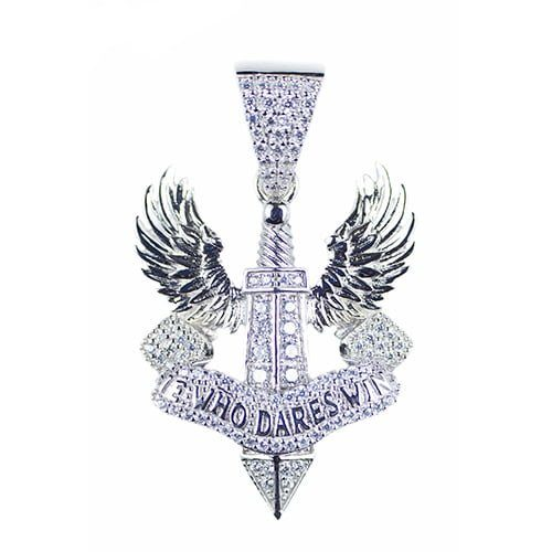 He Who dares silver pendant,silver pendant,topjewelleryuk,top jewellery,silver,925,iced out