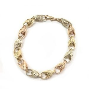 9ct tulip bracelet, 3- colored bracelet,white gold,yellow gold,rose gold,three colored 9ct tulip bracelet,heavy and wide