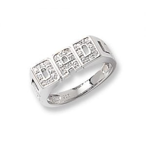 Cz DAD Patterned Sterling silver Signet ring 925,Signet ring, Top Jewellery UK,Birmingham,Topjewelleryuk