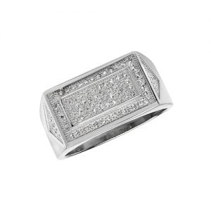 Cz mens ring Sterling silver Signet ring 925,Signet ring, Top Jewellery UK,Birmingham,Topjewelleryuk,10 mm