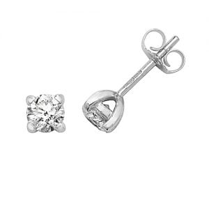 Diamond 4-claw stud earrings 9ct white gold 0.75 ct,H color, SI2,topjewelleryuk,topjewellery birmingham