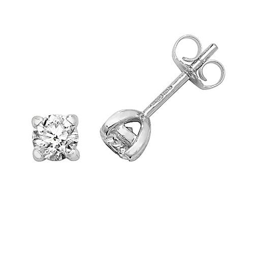 Diamond 4-claw stud earrings 9ct white gold 0.75 ct,H color, SI2,topjewelleryuk,topjewellery birmingham