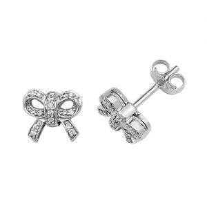 Diamond Bow stud earrings 9ct white gold 0.60 ct SI2,topjewelleryuk,topjewellery birmingham