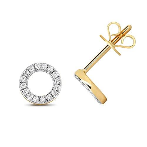 Diamond Cirlce stud earrings 9ct yellow gold 0.12 ct SI2,topjewelleryuk,topjewellery birmingham