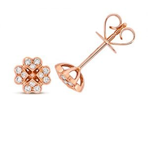 Diamond Clover shaped stud earrings 18ct rose gold 0.18 ct,VS G,topjewelleryuk,topjewellery birmingham