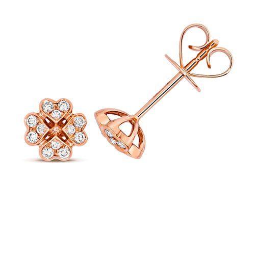 Diamond Clover shaped stud earrings 18ct rose gold 0.18 ct,VS G,topjewelleryuk,topjewellery birmingham